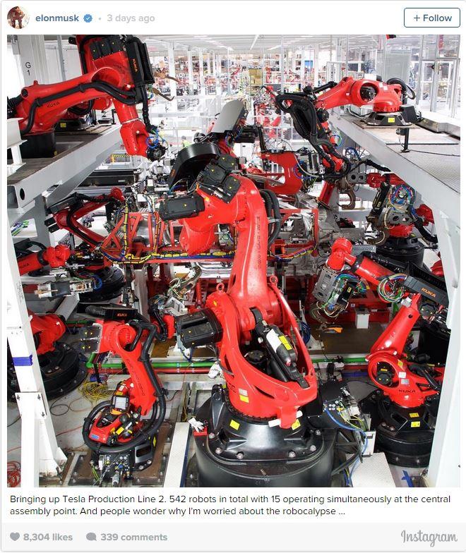 Nadmierna automatyzacja w fabryce Tesla Motors - Elon Musk - wypowiedź z Instagrama