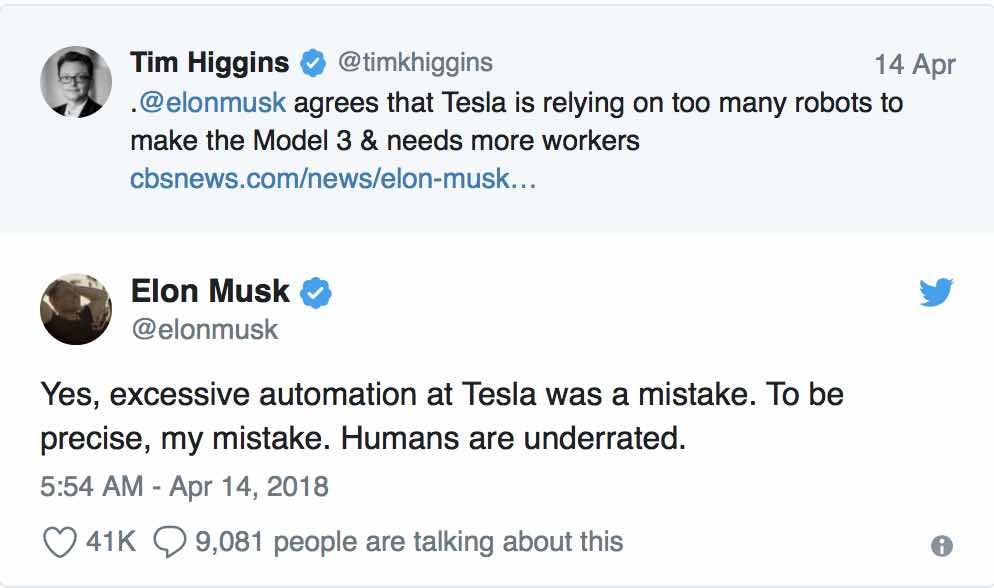 Nadmierna automatyzacja w fabryce Tesla Motors - Elon Musk - wypowiedź z Twittera