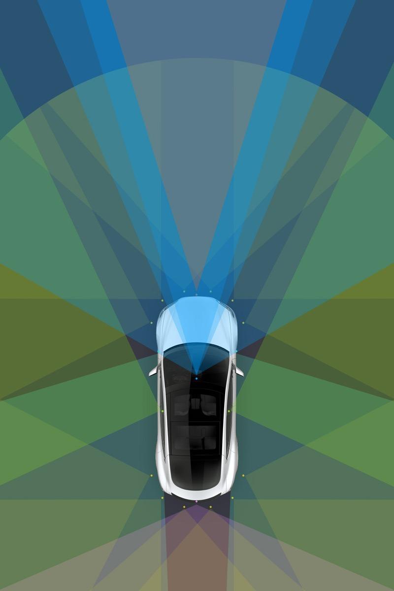 czujniki w aucie z autopilotem